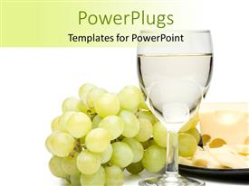 PowerPoint template displaying a glass of wine with a number of grapes