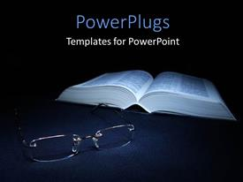 PowerPlugs: PowerPoint template with glasses laying on the foreground with a book