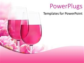 PowerPoint template displaying glasses of wine with beautiful pink flowers