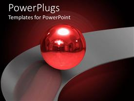 PowerPlugs: PowerPoint template with a glistering red bal on an ash colored circular plane