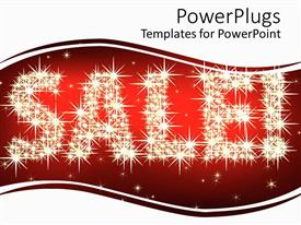 PowerPlugs: PowerPoint template with glittering sale and exclamation mark with stars on red and white background