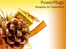 PowerPlugs: PowerPoint template with glittery pine cone, gold gift ornament, Christmas decorations
