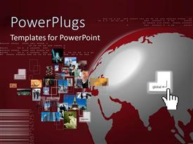 PowerPlugs: PowerPoint template with global business concept with finger pressing key, silver and burgundy globe, collage