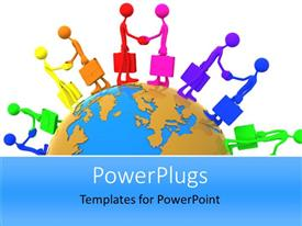 PowerPlugs: PowerPoint template with global business metaphor with rainbow colored business people shaking hands on top of globe