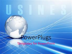 PowerPlugs: PowerPoint template with global business metaphor with silver Earth globe on 3D grid lines