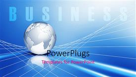 PowerPoint template displaying global business metaphor with silver Earth globe on 3D grid lines