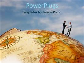 PowerPlugs: PowerPoint template with global business metaphor with two business men standing on globe