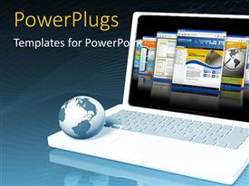 PowerPlugs: PowerPoint template with a laptop with a globe and bluish background