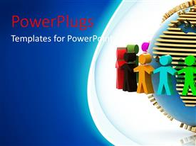 PowerPlugs: PowerPoint template with colorful 3D men hold hands around earth globe in white background
