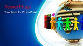 PowerPoint template displaying colorful 3D men hold hands around earth globe in white background