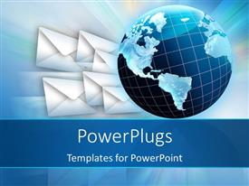 PowerPlugs: PowerPoint template with global communication concept with earth globe beside multiple envelope symbols
