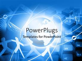 PowerPlugs: PowerPoint template with global communication depiction with cell phone and globe on computer keyboard