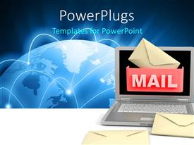 PowerPlugs: PowerPoint template with global communication depiction with envelope symbol and laptop over globe