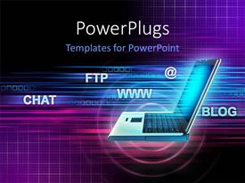 PowerPlugs: PowerPoint template with global communication depiction with laptop and Internet related terms over purple babackground