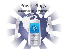 PowerPoint template displaying global communication metaphor with cell phones surrounding globe