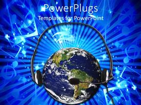 PowerPlugs: PowerPoint template with global communications customer service metaphor with Earth listening to headset