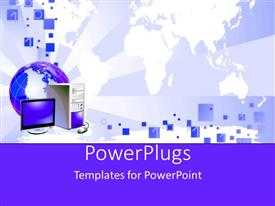 PowerPlugs: PowerPoint template with global communications theme with globe, desktop computer and binary code