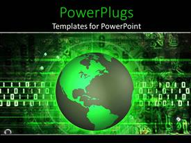 PowerPoint template displaying global communications theme with green globe world, binary code, technology, IT
