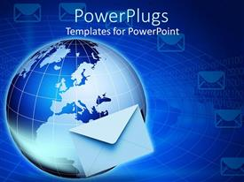 PowerPoint template displaying global email technology, Internet with envelope and globe, global communication, networking