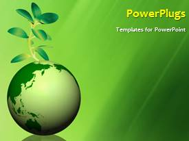 PowerPoint template displaying global environment with a globe and a green plant