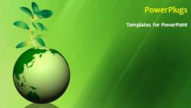 PowerPoint template displaying global environment with a globe and a green plant - widescreen format