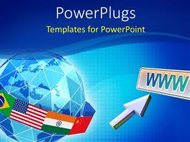 PowerPlugs: PowerPoint template with global network depiction with flag of countries around globe and mouse pointer