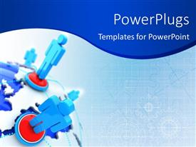 PowerPlugs: PowerPoint template with global network depiction with 3D men linked on globe