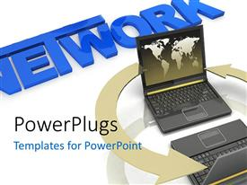 PowerPlugs: PowerPoint template with global network metaphor with laptops with world map connected by arrows