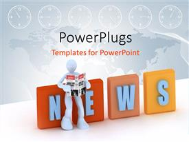 PowerPlugs: PowerPoint template with global NEWS depiction with 3D man reading magazine with world map in background