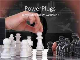 PowerPlugs: PowerPoint template with global solutions insurance metaphor with hand moving chess piece on chess board