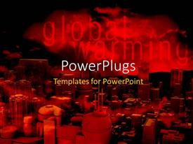 PowerPlugs: PowerPoint template with global warming depiction with fumes from industrial area in dark sky