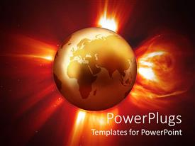 PowerPoint template displaying global warming metaphor with Earth globe world surrounded by red fire in space