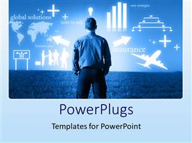 PowerPlugs: PowerPoint template with globalization business factors power of mind blue background