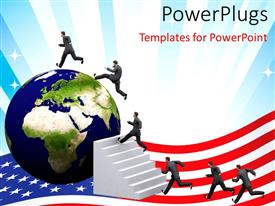 PowerPoint template displaying a globe in the background and people running