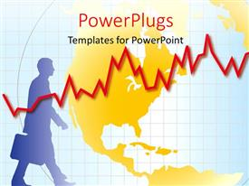 PowerPlugs: PowerPoint template with a globe in the background with a recession line