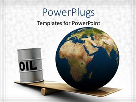 PowerPlugs: PowerPoint template with a globe on a balance with greyish background and place for text