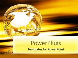 PowerPoint template displaying a globe in a beautiful color and golden background
