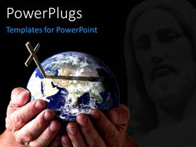 PowerPlugs: PowerPoint template with a globe being held by the person with a holy cross