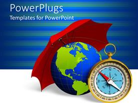 PowerPlugs: PowerPoint template with a globe being protected with the help of an umbrella