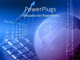 PowerPlugs: PowerPoint template with a globe with binary numbers and keyboard in background