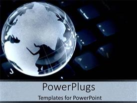 PowerPlugs: PowerPoint template with a globe with a blackish background and place for text