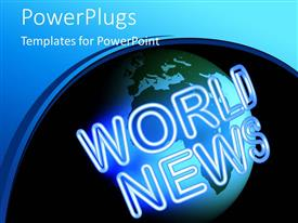 PowerPlugs: PowerPoint template with a globe with blackish background and place for text