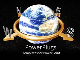 PowerPoint template displaying a globe with a blackish background and stars