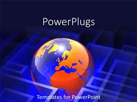 PowerPlugs: PowerPoint template with a globe with blue background and place for text
