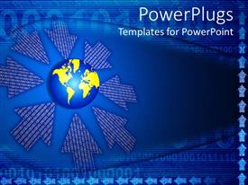 PowerPlugs: PowerPoint template with a globe with a bluish background