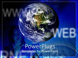 PowerPlugs: PowerPoint template with a globe with bluish background and a girl