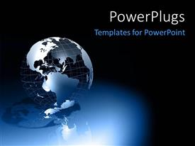 PowerPoint template displaying a globe with bluish background and place for text