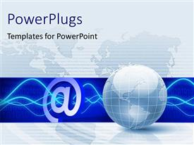 PowerPlugs: PowerPoint template with a globe with bluish background and a symbol