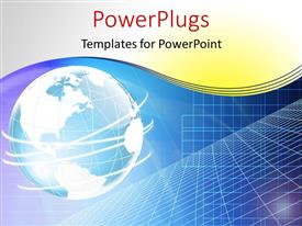 PowerPlugs: PowerPoint template with a globe in bluish color with a number of circles around it