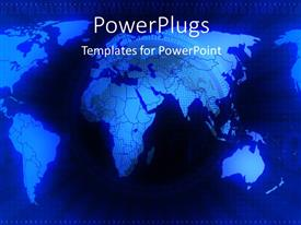 PowerPoint template displaying a globe with bluish light and map in the background